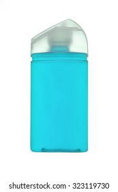 Blue Plastic Bottle for Shampoo, Liquid Soap or Lotion. Close - up Isolated on a White Background