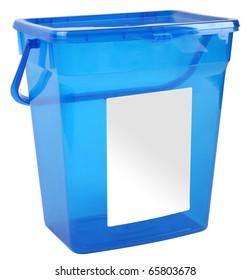 Blue plastic box isolated on white background