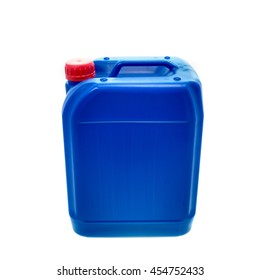 Blue plastic canister, container; isolated on white background