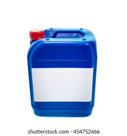 Blue plastic canister, container with label; your text here; isolated on white background