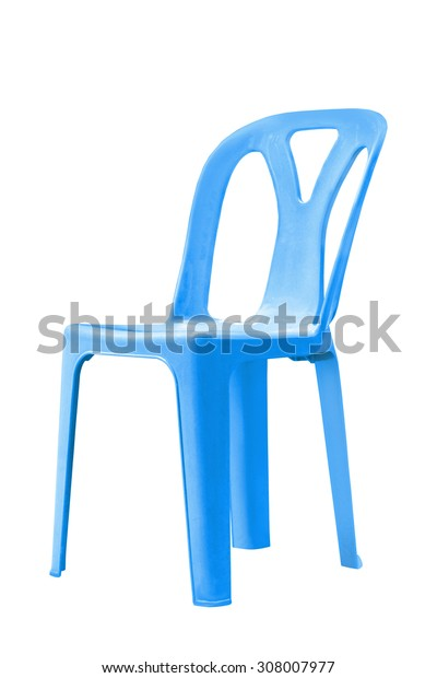 Blue plastic chairs on white, with clipping path.