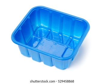 blue plastic container isolated on white