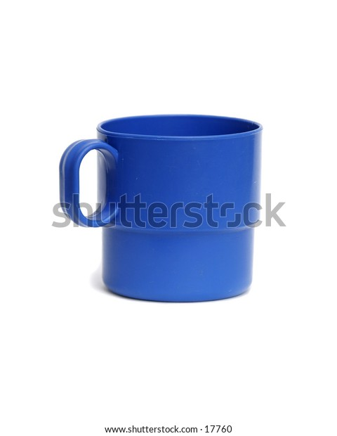 A blue plastic cup isolated on white with clipping path.