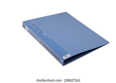 blue plastic file folder with O Ring binder of A4 size with transparent plastic label tag sag at the back for document retrieval with ease and convenience in bookshelf storage or file cabinet