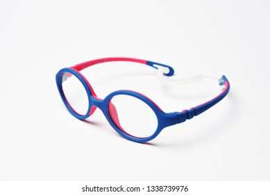 Blue plastic frame rim for children's glasses. Image for the design of optics store and shop, eye clinic. Glasses for reading and distance, correction of sight.