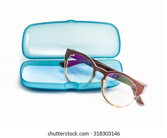 Blue Plastic Glasses Case isolated on white