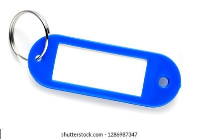 blue plastic keys label
