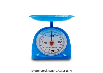 blue plastic kitchen scales isolated on white background with clipping path