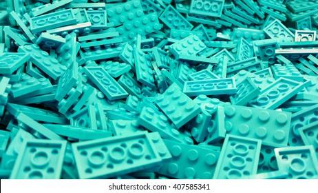 Blue plastic Lego blocks