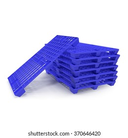 Blue Plastic Pallets Stack on White Background