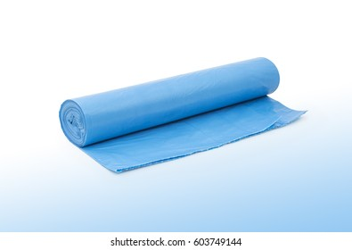Blue plastic polyethylene garbage bags roll isolated over the white and blue background.