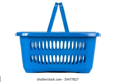 A blue plastic shopping basket on a white background, flat view