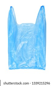 Blue plastic shopping or grocery bag isolated on white background