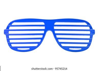blue plastic shutter shades sunglasses isolated on white background