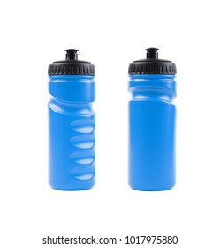 Blue plastic sport water bottle isolated over the white background, set of two different foreshortenings