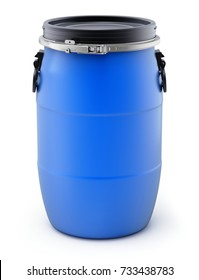 Blue plastic storage barrel on white background - 3D illustration