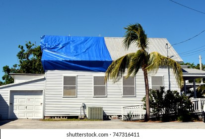 Blue plastic tarpaulin temporarily covers roof damage caused by Hurricane Irma in Key West,  Florida.