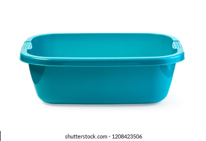 blue plastic wash bowl on a white background with clipping path
