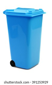 Blue Plastic Waste Container Or Wheelie Bin, Isolated On White Vertical Background, Close Up