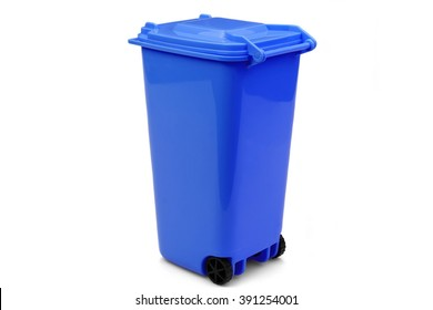 Blue Plastic Waste Container Or Wheelie Bin, Isolated On White Horizontal Background, Close Up