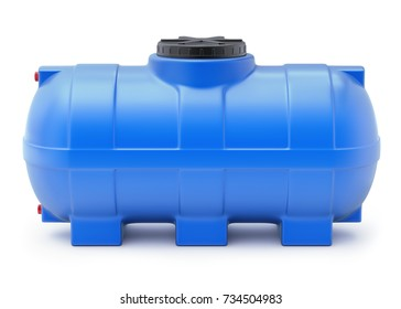 Blue plastic water cistern on white background - 3D illustration