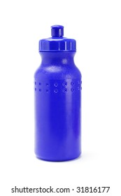 Blue plastic water container on white background