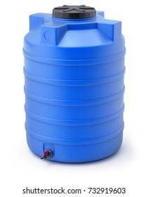 Blue plastic water storage tank on white background - 3D illustration