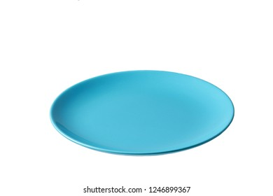 blue plate isolated on white background,top view
