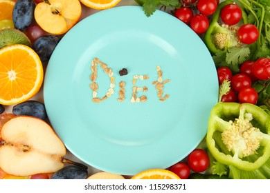 Blue plate surrounded by wholesome food diet close-up