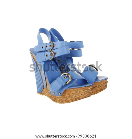 2a8220bc121 Blue Platform Sandals Isolated On White Stock Photo (Edit Now ...