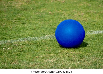 A blue playground ball sits next to the white line on a green grass field for summer recreation and fun.