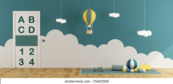 Blue playroom for baby boys with toys on carpet, hot air balloon and closed door - 3d rendering