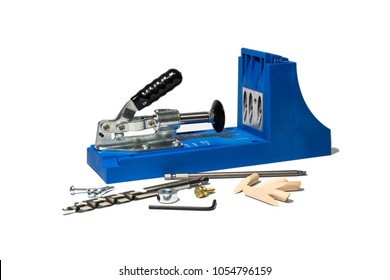 Blue Pocket hole jig, dowel jig, isolated image on white background