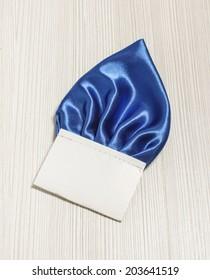 Blue pocket square for male suit