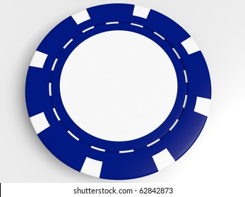 blue poker chip isolated on the white