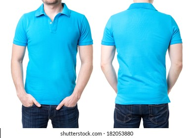 Blue polo shirt on a young man template on white background