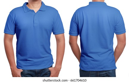 7be6dbed71ee Blue polo t-shirt mock up, front and back view, isolated. Male
