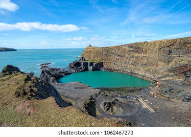 The Blue Pool at Abereiddy on the Pmebrokeshire coast in Wales
