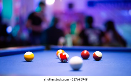 Blue Pool Table With Balls