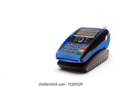 Blue Portable Credit Card Terminal on Base