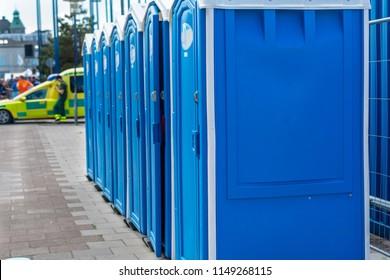 Blue portable loos