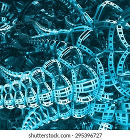 Blue Portal To Next World Fractal Concept With Platforms