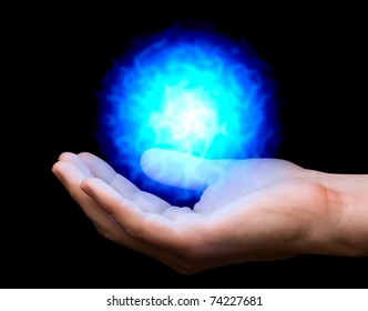 blue power fireball on man's hand