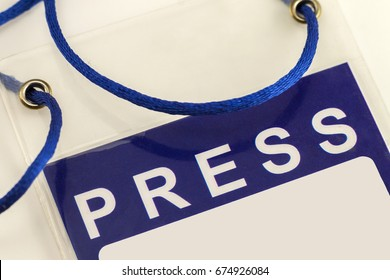 Blue Press Pass ID Card close-up
