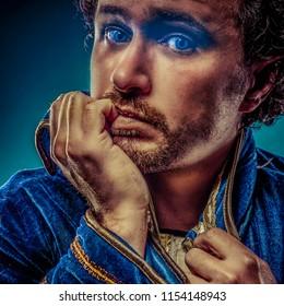 Blue prince dressed with elegant prussian blue jacket