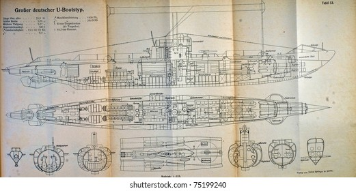 "Blue Print of a German  WW1 U boat - Illustration comes from ""Hilfsbuch für den Schiffbau."" Printed in 1928,"