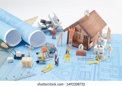 Blue print house plan. Design architecture home,