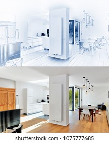 Blue print of a Modern luxury living room and kitchen and result after