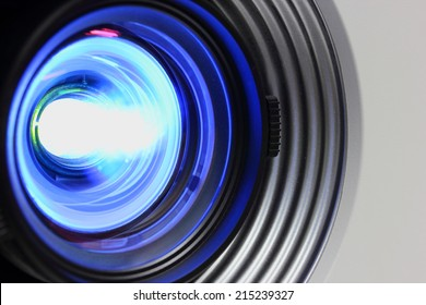 Blue projector close lens