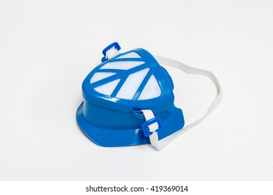 Blue protection face mask on white background